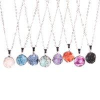 Acheter Lien pour perles-Nouvelle Arrivée mignonne petite forme ronde plaqué or Druzy perles collier pendentif blanc / violet / vert / bleu / orange / rose / noir avec 18