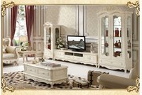 Wholesale new European solid wood TV cabinet simple coffee table living room ivory white combination furniture