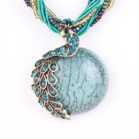 Wholesale new Peacock decoration rough necklace Female clavicle short chain Turquoise stone pendant necklaces summer style jewelry