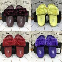 Wholesale 2017 New Color Puma Leadcat Fenty Rihanna Shoes Men Women Slippers Indoor Sandals Girls Scuffs Cheap Fur Slides With Original Box