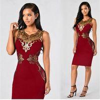 Wholesale New Elegant Women s Sleeveless Lace Neck Dress Evening Cocktail Party Dress S M L XL XXL blue black wine red colors