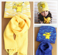 beanie hats for baby - Poke Mon Winter Warm Cartoon Hat Scarf Set for kids Knitted Poke Pikachu Soft Warm Beanie Cap Long Scrarves for Baby years kids L001