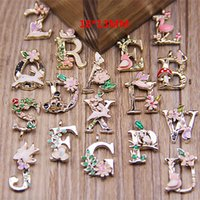 European Beads abc beads - 78pcs Fashion Letters Enamel Alloy Pendant ABC Words Charms Jewelry accessories DIY mm