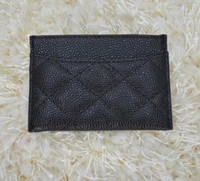 Card Holders Credit Card Unisex famous brand Genuine lambskin   caviar Leather wallets Women classic Luxury diamond lattice 11.5*8CM C card holders 31510