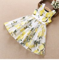 Wholesale colors Cotton Girls Dresses cm Girls Lemon Dresses Princess Flower Skirt Woven Skirt Girls Flower Dresses LA256