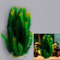 Wholesale Beautiful Green Yellow Plastic Water Plant for Aquarium Fish Tank Ornament Decoration x7x47cm
