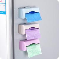 Wholesale Self adhesive Plastic garbage bag storage box wall mounted Cleaning Waste Bag Trash Bags holder storage rack home organizer