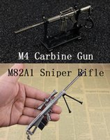 barrett rifle - Excellent Gun Fans Collection M4 Carbine Gun Model M82A1 Barrett Sniper Rifle Model Zinc Metal Material Fashion Key Ring Military Gift