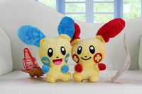 Wholesale cm New Hot Plusle Plush Toys Pikachu Cute Minun Stuffed Plush Doll Toys Mega Collectible Kids Plush Action Figures