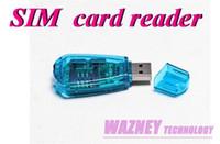 Wholesale 100pcs USB SIM Card Reader GSM CDMA Cellphone SMS Backup Sim card reader writer clone backup kit