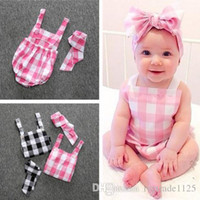 Wholesale INS styles Hot selling infant girl cute plaid Print Cotton Romper headbands baby Climb clothing girl summer Rompers girl two pieces sets