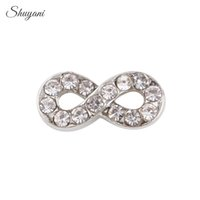 Wholesale Crystal Infinity Charms Silver Plated DIY Floating Locket Charms for Living Memory Glass Locket mm