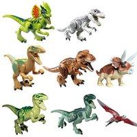 Wholesale 8pcs set dinosaur toys minifigures building blocks jurassic world bricks toys christmas