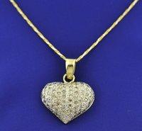 Diamant en or jaune massif de 14 carats et pendentifs coeur diamant naturel 3,25 ct Style pavé