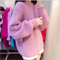 Wholesale 6044 Autumn Winter Sweaters Women Imitate Cashmere Pullovers Women s sweater Pull Femme Mohair Jacket Knitwear Coats knit sweater jacket