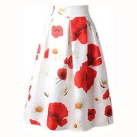 Wholesale A line spring summer high waist skirt floral print pleated midi skirt women vintage Ball Gown American Apparel fashion