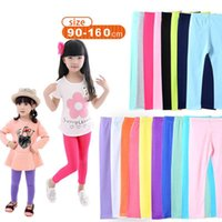 Wholesale Candy Color Girls Leggings Girl Pants Toddler Classic Leggings Big Children Trousers Baby Solid Color Kids Leggings Colors LA354