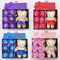 al por mayor lindo pequeños regalos de cumpleaños-Flor romántica del jabón de 6Pcs / Box con la pequeña muñeca linda del oso grande para el regalo de boda de Giftsfor del regalo del día de tarjeta del día de San Valentín o los regalos de cumpleaños