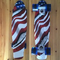 Wholesale Mini Cruiser Board Plastic Skateboard Graphic Printed quot X quot Retro Longboard Skate Long Board US Flag