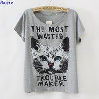 big cat bell - Magic summer new tshirt batwing sleeve loose women t shirt Big Cat letters printed tees LBZ9092