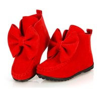 Wholesale New Baby Girl Winter Shoes Martin Girls Autumn Boots Fashion Rose Red Bow Kids Fashion warm lovely christmas gift