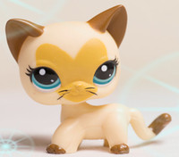 Wholesale little pet shop short hair Cat Kitty grey Green eyes LPS TOY