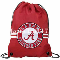 Kniiting alabama bag - 35x45 knitted polyester football Alabama Crimson Tide Crimson Team Logo side stripe drawstring backpack bag flag with metal Grommets
