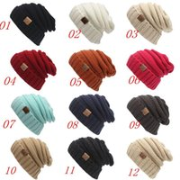 Wholesale Man Woman Knitted Hat CC Trendy Warm Oversized Chunky Soft Oversized Cable Knit Slouchy Woolen Beanie Skull Caps Colors