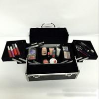 aluminum makeup train case - black professional handle Makeup Cosmetic Storage Train Case Box Trays Jewelry Aluminum Artist Hiker