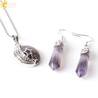 agate dangles - CSJA Bohemian Natural Gem Stone Jewelry Sets Moon Stars Pendant Necklace Hook Dangle Drop Earrings Opal Amethyst Summer Beach Jewellery E385