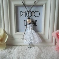 Wholesale 2017 Wolesale Jewelry Fashion Crystal Pendant Necklace diamond Long Chain Necklace Doll Pendant With White Dress Cute Necklace