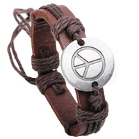 america patriotic - Europe and America vintage round alloy board peace sign bracelet fashion jewelry Genuine leather Anti war symbol bangle price