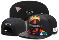 Wholesale 2017 PRAY FOR BIGGIE Cayler Sons black snapbacks Men Women Basketball caps Team Football Hip Hop adjustable snapback Baseball cap TYMY