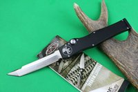 Wholesale Special Offer Black Classic Microtech Halo V Tanto Blade Knife quot Satin single action auto Tactical knife Survival gear knives