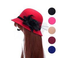 Wholesale Women s Hat female winter brim Fedora bowler hat church fedora wool cage winter sun hats for women vintage hat wool for felting top