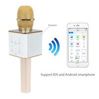 Wholesale SGLEDs Fashion Q7 Pro Karaoke Microphone Wireless Handheld Loudspeaker Portable Bluetooth KTV Karaoke Stereo Player For All kinds of Phone