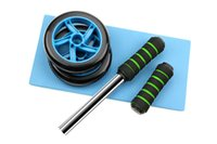 abdominal wheel workout - Dual AB wheel Abs Abdominal Gym Roller Workout Exercise Gym Roller Fitness Blue