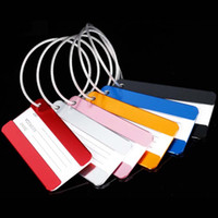 achat en gros de badges imprimés-50pcs / lot Alliage d'aluminium Accessoires de voyage Bagagerie étiquettes Étiquette de bagage Carte de voeux de valise Peut imprimer avec votre logo