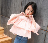 Wholesale New Kids White Pink Top Lovely Shirt Top Long Flare Sleeve Round Neck Pretty Casual Tees Size CM Kids Girl Spring Clothing