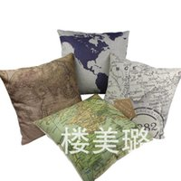 Wholesale Luxury World Map Pattern Throw Pillow Cover INCH Sofa Cushion Home Party Car Hotel Decoration Pillow Case CM
