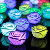 Wholesale 2016 New arrive Changeable Color LED Rose Flower Candle lights roses love lamp