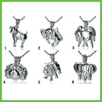 animals zodiac signs - 10 pieces KGP Love Pearl Pendant and Cage Mixed Zodiac Sign Wish Cages Lockets Jewelry