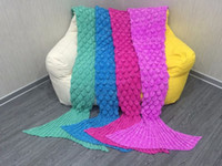 Wholesale adult Mermaid Tail Sofa Blanket Super Soft Warm Hand Crocheted Knitting Wool Blanket For Adult CM