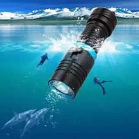 Wholesale 100M flashlight led underwater flashlights diving torch light diver XM T6 rechargeable waterproof or battery