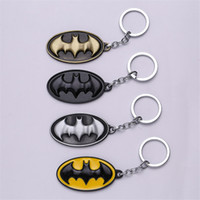 Wholesale Cartoon Batman Icon Metal Keyring Rhodium Plated Split Key Rings Findings Round Keychain Key Rings
