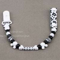 baby names black - Personalised Any name Hand made black and white smart Funny beads dummy clip dummy holder pacifier clips soother chain for baby
