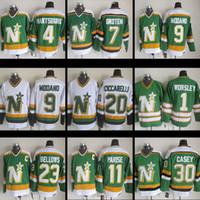 Wholesale CCM Cheap Minnesota North Stars Neal Broten Mike Modano Dino Ciccarelli Brian Bellows Gump Worsley JON CASEY PARISE hockey jerseys