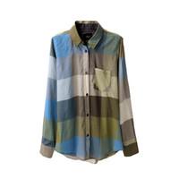 acrylic railing - women Eco friendly cotton rails plaid shirt