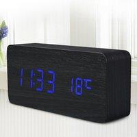 Wholesale 2017 Digital LED Alarm Clock Despertador Sound Control USB AAA Temperature Display Electronic Wooden Desktop Table Clock for Ch