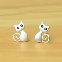 allergic baby - 5 pairs Sterling Silver Cute kittens Kitty Cat Stud Earrings For Children Girls Baby Kids Jewelry Gifts Pure Solid Anti Allergic